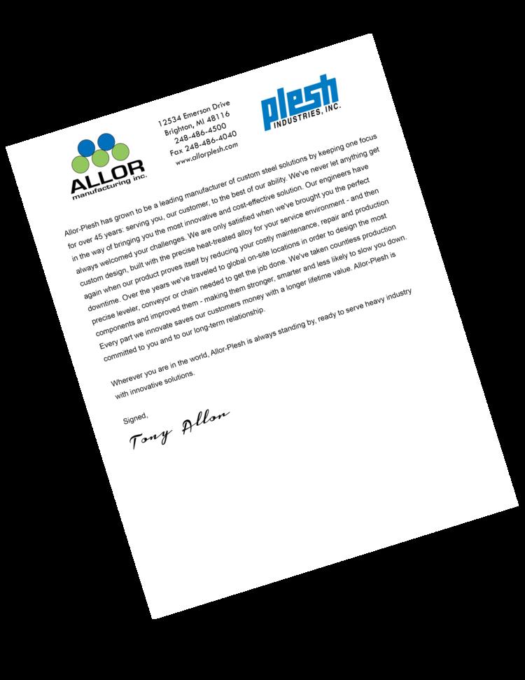 Tony Allor Letter