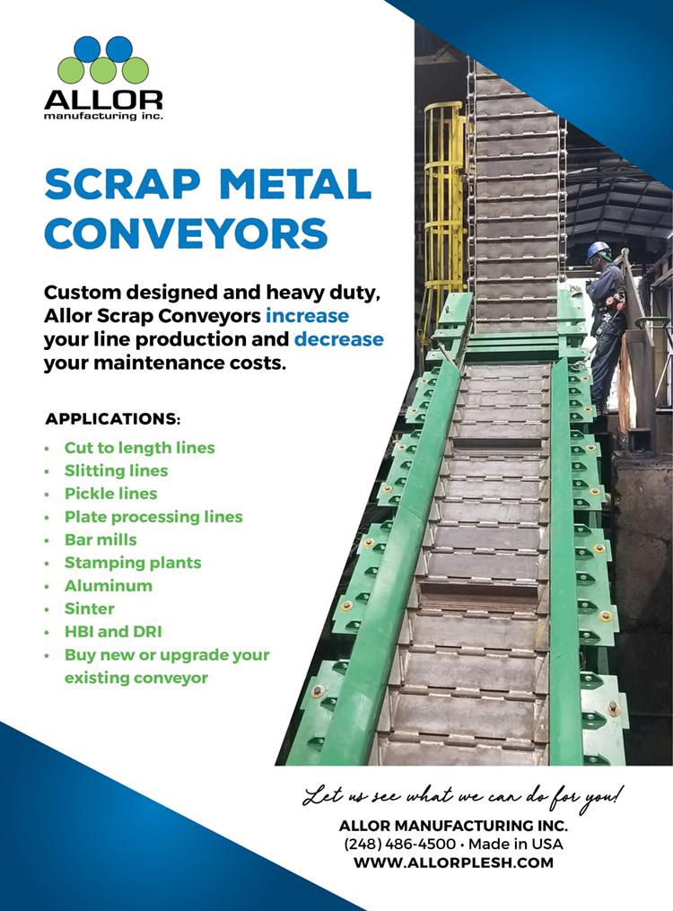 Metal Center News Ad - Allor Scrap Metal Conveyor Systems