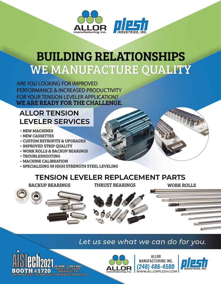 allor manufacturing ad featuring our tension leveler services