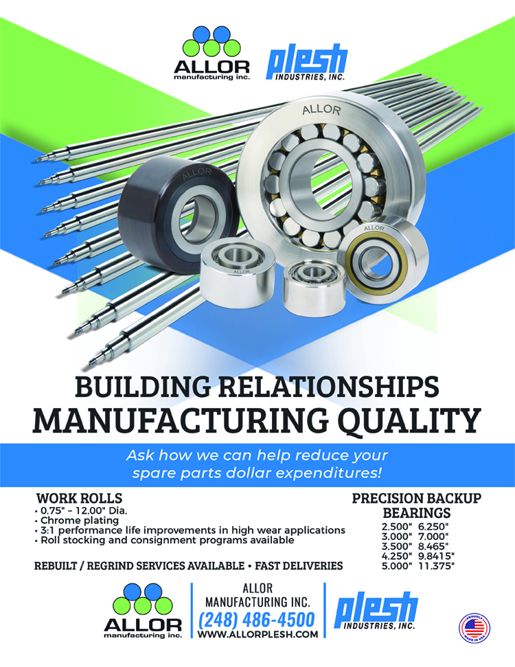 Allor Manufacturing ad highlighting our wrok rolls and back up bearings